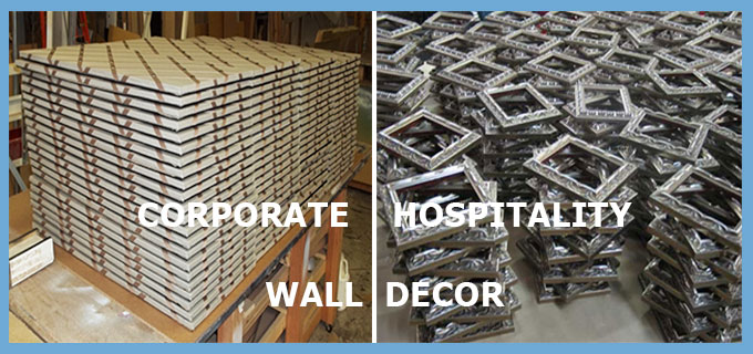Custom corporate, commercial, hospitality wall decor - bulk purchase - safe on-time delivery