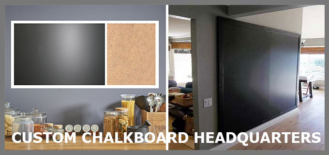 Custom chalkboard headquarters - porcelain on steel magnetic blackboards - choose framed or frameless - any size  - hundreds of options
